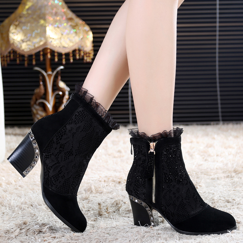 ФОТО Genuine leather female spring and autumn boots lace elastic boots women's shoes high-heeled