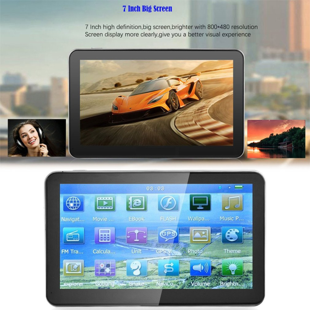 704 7 inch 8GB ROM+  800*480 HD Portable GPS Navigation 128M RAM Capacitive Touch Screen GPS Navigator FM Audio And Video Player gps навигатор lexand sa5 hd