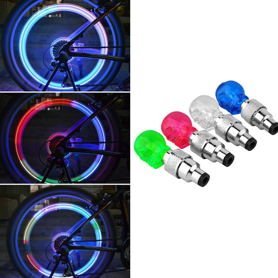 New Led Bike Light 1 Pcs Skull Shape Valve Cap LED Light Wheel Tyre Lamp For Car Motorbike Bike Colorful Bicycle Accessories