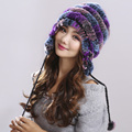 Knitted Rex Rabbit Fur Hat Natural Rabbit Fur Caps Warm and comfortable Fashion Women Beanies Headgear Various Colors#H9011