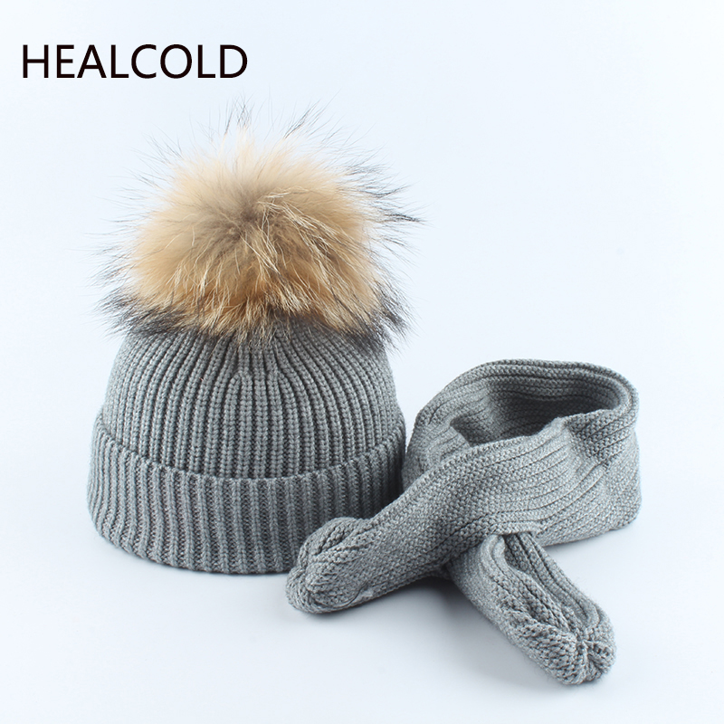 Winter Hat And Scarf Suit For Children Real Fur Pompom Warm Knitting Rabbit Beanie Hats Boys Girls Kids 2019