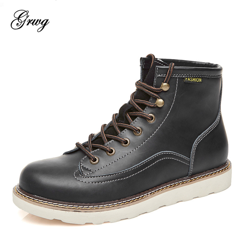 GRWG Fashion 2018 Vintage Men Lace-Up Spring Autumn Genuine Cow Leather Boots Men Waterproof Casual Ankle Men Boots men spring autumn full grain leather ankle boots lace up fashion casual real leather men boots 20170107