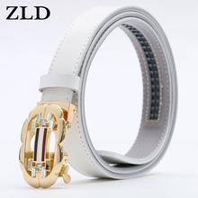 ZLD Women Belt Luxury Famous fashion Designer Brand High Quality Genuine Leather Strap Automatic Ratchet Buckle Belts for Dress