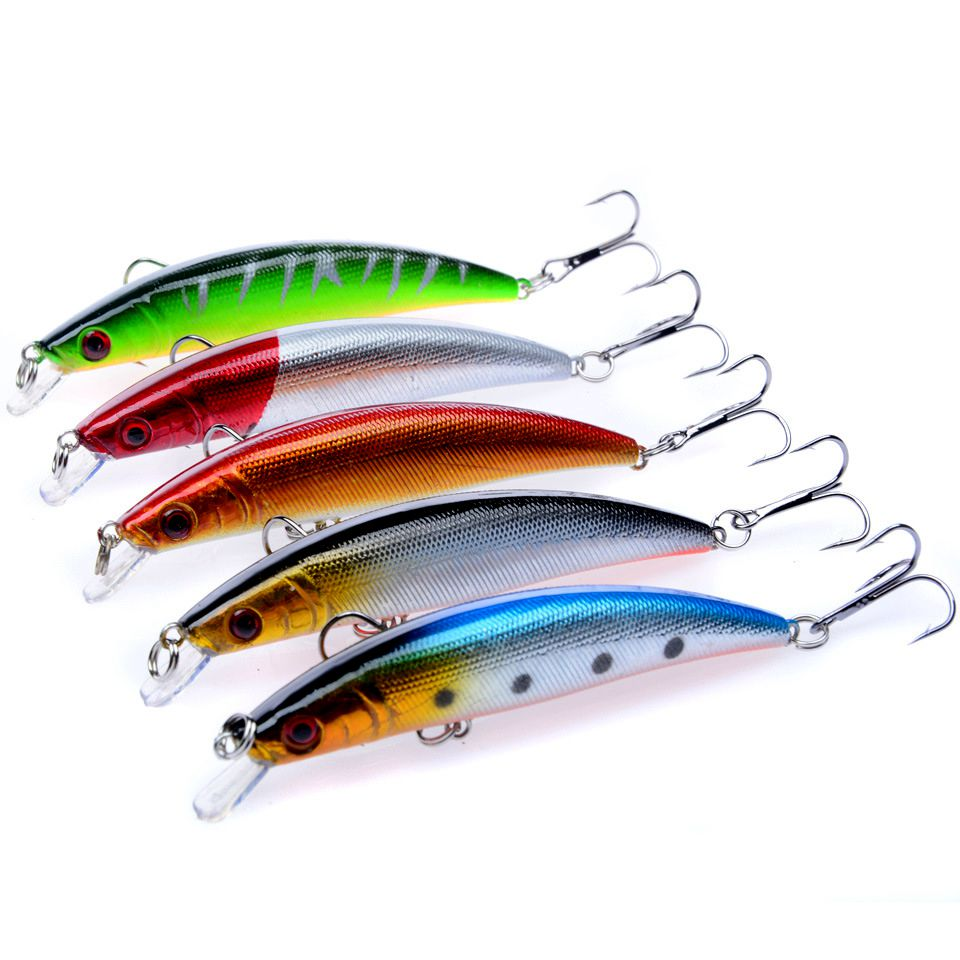 5 Pieces Freshwater Fishing Lures Minnow Crankbaits Iscas Artificiais para Pesca em rio Wobblers Fishing Tackle 80mm 8.5g-in Fishing Lures from Sports & Entertainment