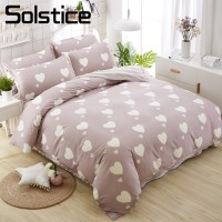 Solstice Home Textile Heart Shape Brown Khaki Duvet Cover Pillowcase Stripe Bed Sheet Girl Kid Teen Bedding Sets 3/4Pcs Bedlinen