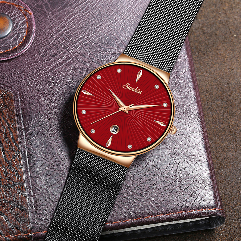 SUNKTA Rose Gold Red Quartz Women Watch Fashion Simple Waterproof Watch Lady Girl Female Gift Luxury brand Clock Zegarek Damski in Women 39 s Watches from Watches