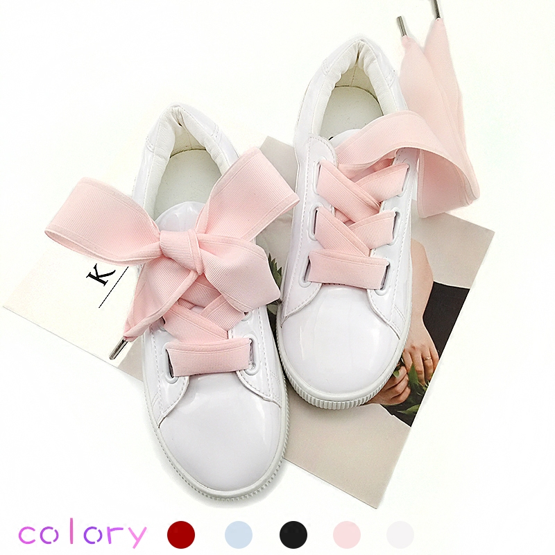 Boutique Shoelaces 5 Color 4 Cm Width 105 Length Bow Tie Rib Shoelaces Beautiful Lace Widened Leisure Shoelaces Dropshipping