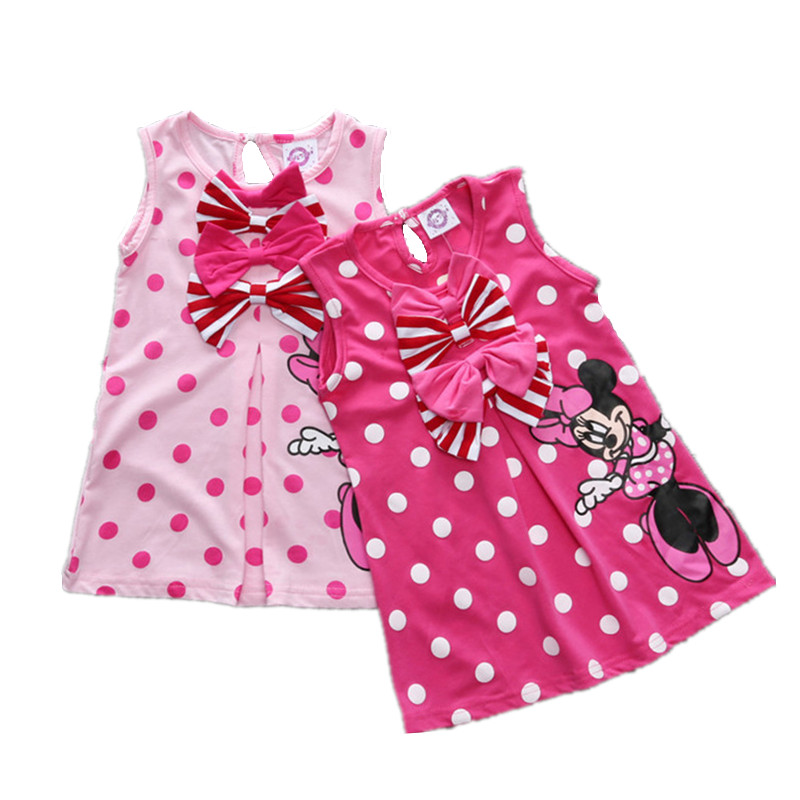 2018 Summer Baby Girl Dress Bowknot Cartoon Cotton Baby Girl Clothes Children Clothing Robe Sleeveless Party Dresses Kid Clothes cartoon kid supercharged