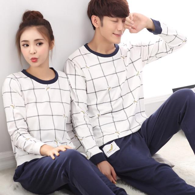 Pyjamas Men Korean Couple Pajama Set Pure Plaid Winter Spring Cotton Sleepwear Long Sleeved Lounge Wear For Men Adults Home Suit