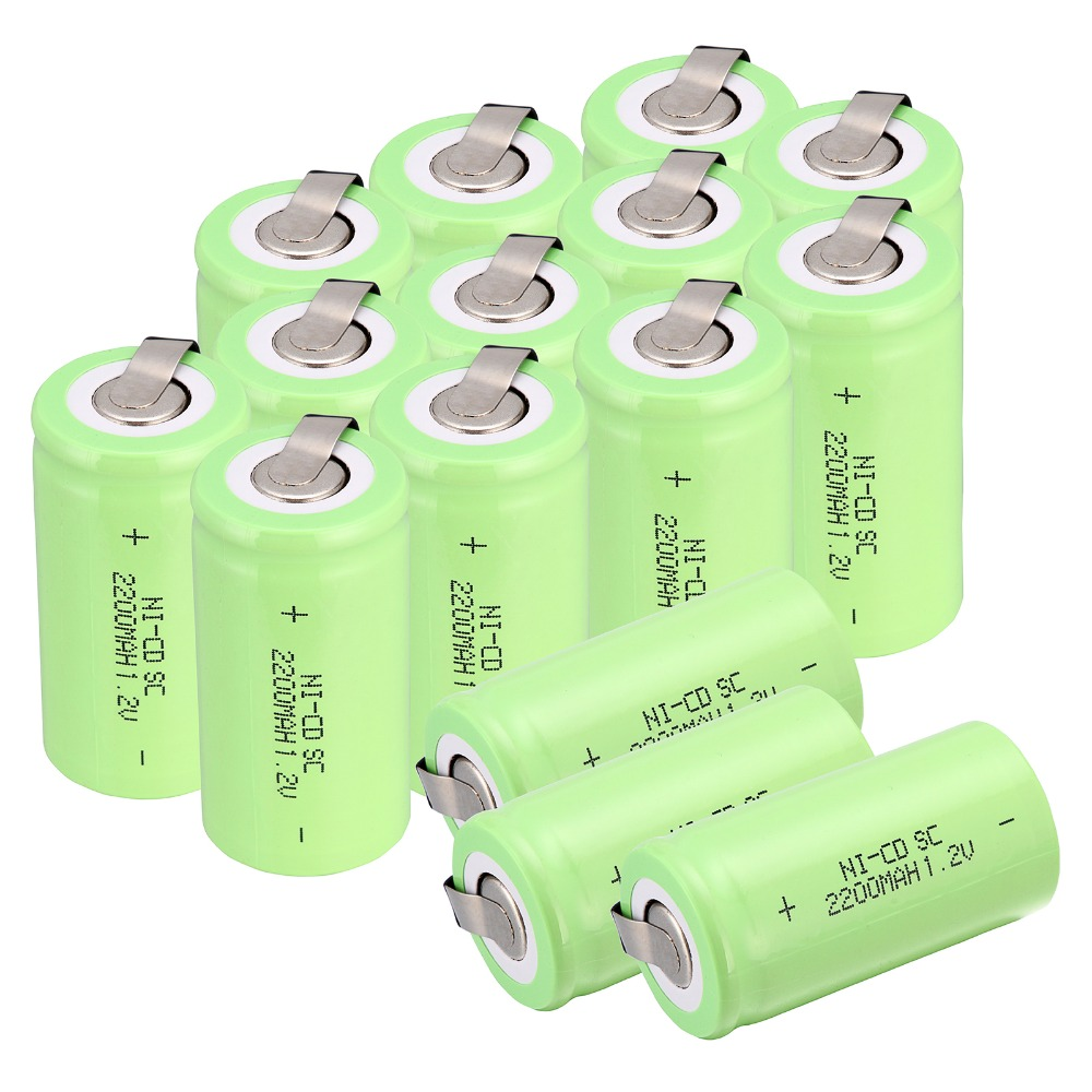 High quality !17 pcs Sub C SC battery 1.2V 2200 mAh Ni-Cd NiCd Rechargeable Battery 4.25CM*2.2CM Batteries -green color
