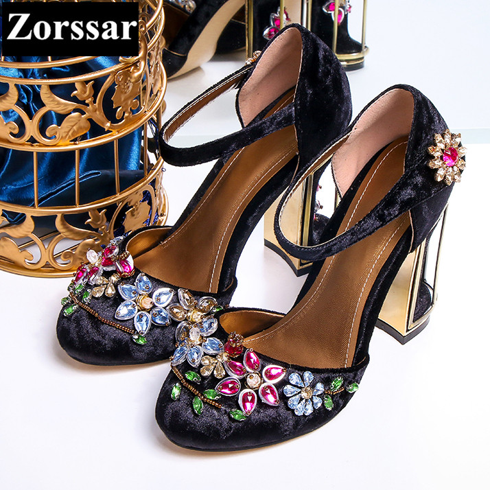 BIG size 34-43 Womens Shoes rhinestone High heels sandals Women Pumps shoes 2017 Fashion Suede leather woman Ankle Strap shoes big size 32 43 fashion party shoes woman sexy high heels platform summer pumps ankle strap sandals women shoes