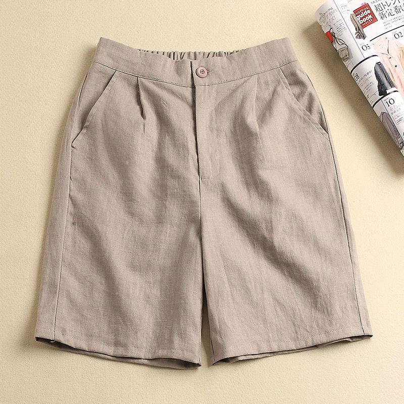 Korean Summer Women Knee Length   Wide     Leg     Pants   Elastic Waist Loose Casual Solid Cotton Linen   Pants   Ladies   Pants   Plus Size D62