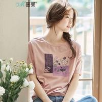 INMAN Femmes de 2017 Fleurs D'été Impression Coton à manches courtes T-shirt