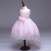 New Girls Flowers Bling Sequins Tailing Dress Wedding Birthday Party Princess Dresses tutu kids frocks for 2 4 6 8 10 12 Years