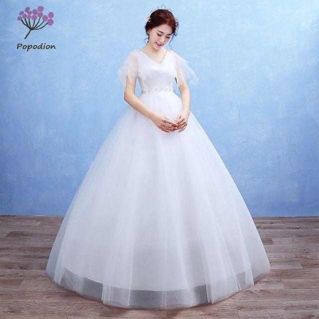 Popodion для беременных женщин большие размеры торжественные платья Империя нарядное платье невесты платье Vestido De Noiva wed90394