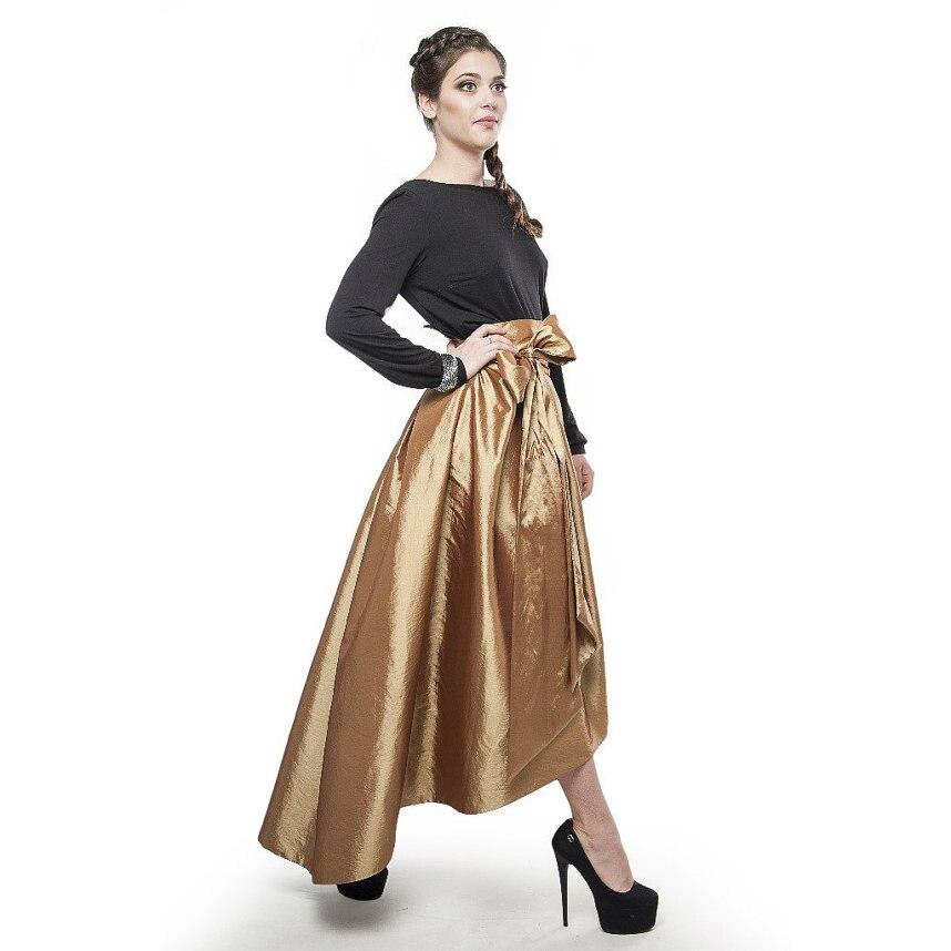 Gold Asymmetrical Skirt Ribbon Waistline Floor Length High Low Skirt Fashion Trendy Pleated Customized Adults Skirts