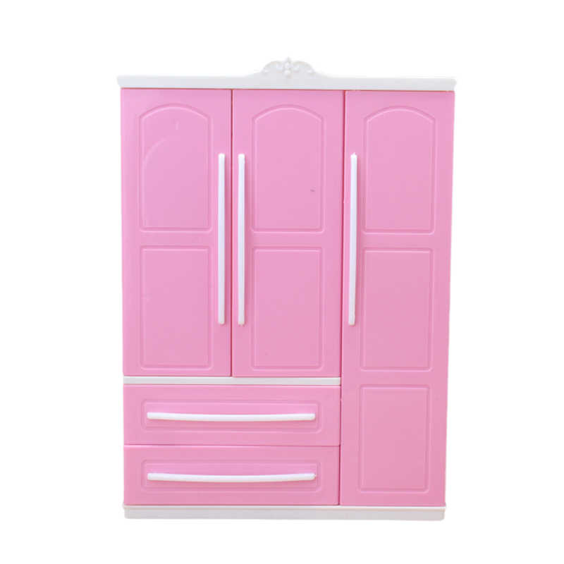Three-door Pink Modern Wardrobe Play set for Barbie Furniture Can Put Shoes Clothes Accessories with Dressing Mirror Girls Toys