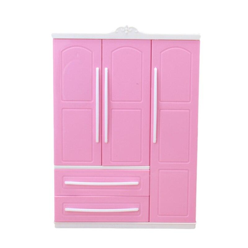Três porta-Rosa Moderno Mobiliário Roupeiro Play set para Barbie Pode Colocar Sapatos Roupas Acessórios com Espelho de Vestir Meninas brinquedos