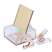 High quality Acrylic gold built-in mirror box + hole punch + staple remover office stationery supply