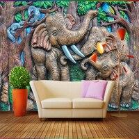 beibehang-custom-wallpaper-relief-forest-elephant-cartoon-children-room-sofa-living-room-tv-background-decorative-3d-wallpaper