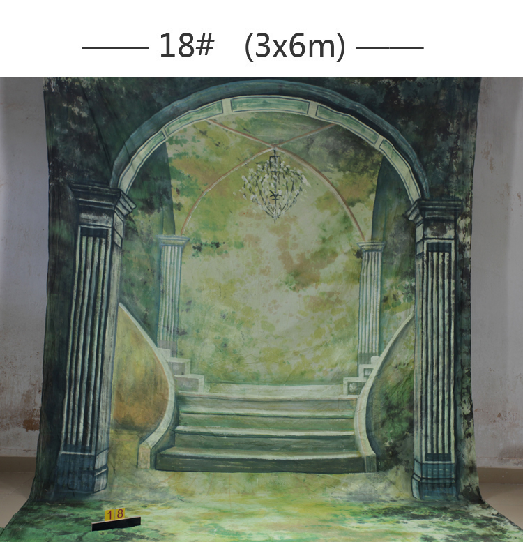 Interior Scenic 10x20ft Muslin 100% Stroke Hand-Painted Photo Backdrop Background wedding customized size & photo professional customized 10x20ft hand painted muslin scenic photo backdrop castle photography studio prop background wedding