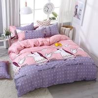 3/4pcs/Set Pink Purple Unicorn Kids Bedding Set Bed Linen Linings Cotton Duvet Cover Set Bed Sheet Pillowcases Home Textie