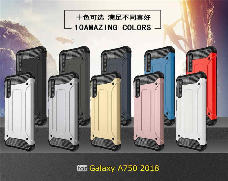 Ibrida di lusso Armatura resistente Antiurto di Caso Per Samsung Galaxy A7 2018 Dura del PC Della Copertura Del Silicone Per UN 7 2018 A750 a750F 6.0 Pollici