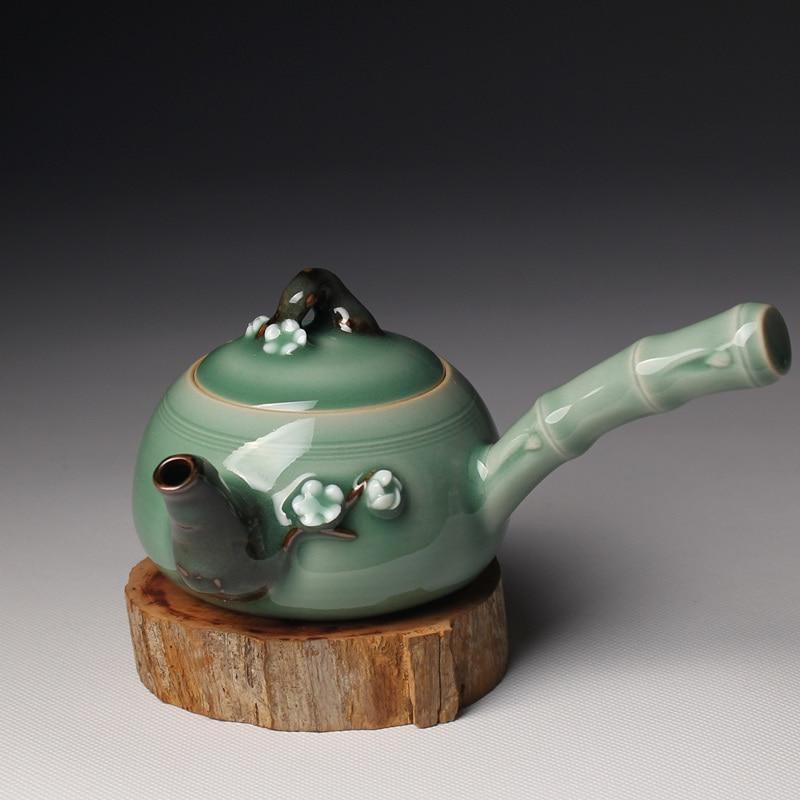 Кунг фу Чай горшок Longquan цвет морской волны Чай комплект ручной работы из Книги по искусству упаковка подарочная коробка