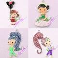 Free Shipping 10pcs/lot Fashion Jewelry Chunky Metal Rhinestone Princess Cartoon Necklaces & Pendants For Kids Handmade Jewelry