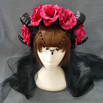 New Halloween Lolita Cosplay The Veil Demon Evil Gothic Sheep horn Flowers Headband Hairband Accessory Headwear Prop 3