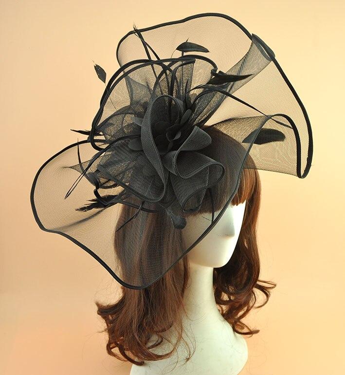 New Vintage Big Feather Hair Fascinator Clip Women Headdress Wedding Party Piilbox Hat Ladies Elegant SHow Cocktail  Headwear