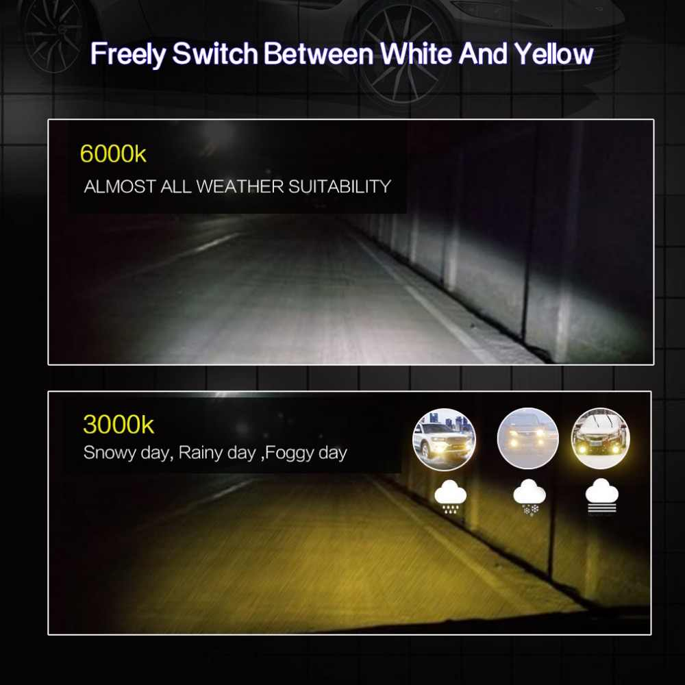 2pcs H1 H3 H7 H8 H11 9005 HB3 9006 HB4 H27 880 881 LED Bulbs Fog Light  Dual Color DRL Driving Lamp White Yellow 12V Auto Lamp