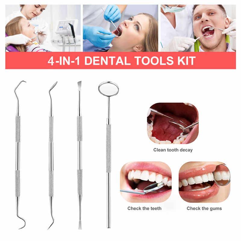 4 pçs kit de clareamento dos dentes folheados inoxidáveis para dentes dental ferramentas conjuntos dente raspador scaler picareta conjunto espelho instrumentos