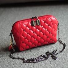 Genuine Leather Mini Shell Bag Women Messenger Bag Diamond Quilted Lambskin Leather Shoulder Bag Fashion Rivet