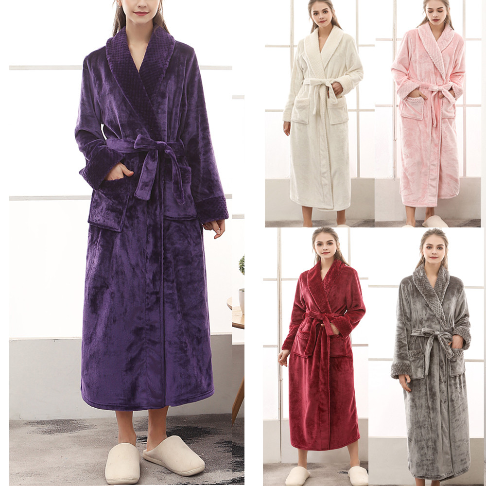 Women's winter lengthened coralline plush nightgown shawl bathrobe long sleeved warm robe coat comfortable nightclothes #8