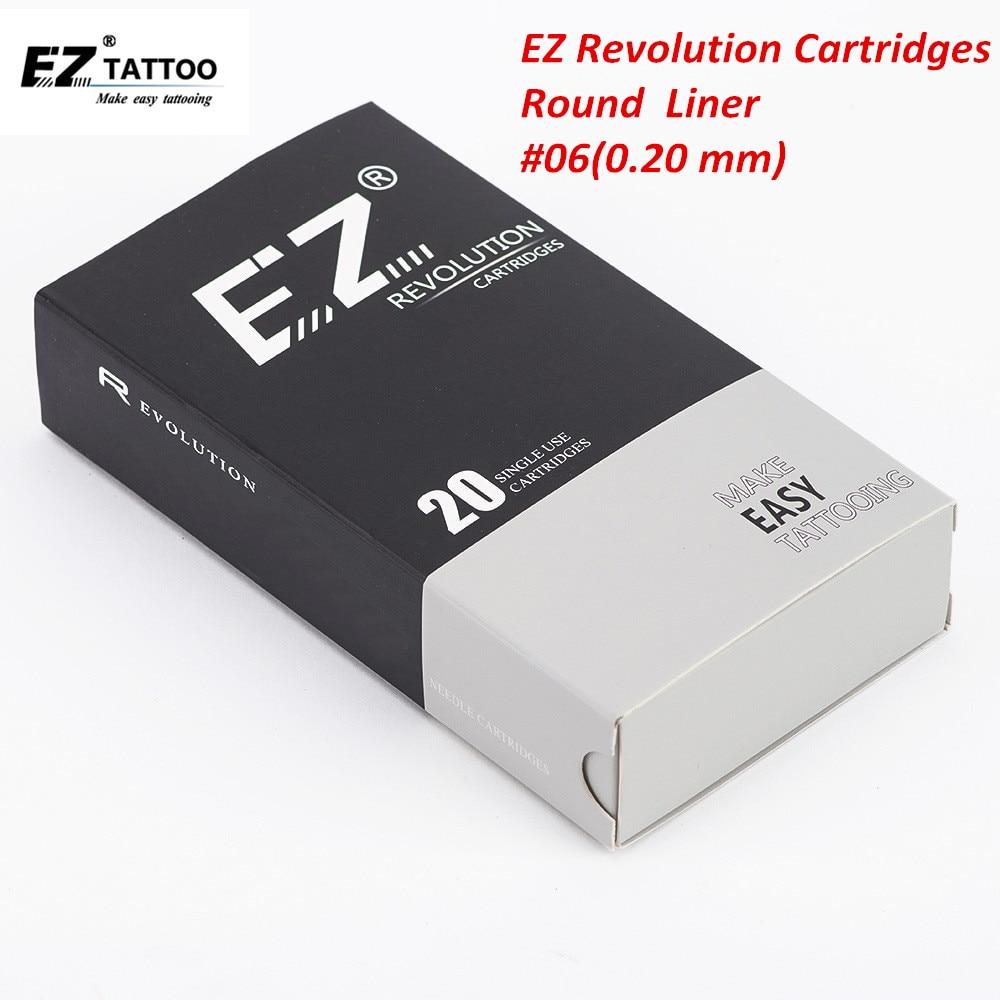 Картриджи для татуажа EZ Revolution #06 0,20 мм, круглая подводка для татуажа и микроблейдинга, Перманентный макияж, подводка для бровей, 20 шт.
