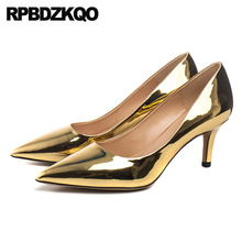 aa6ec88a4a Celebrity Size 4 34 Pumps Golden Women Patent Leather Pointed Toe 3 Inch  Scarpin High Heels
