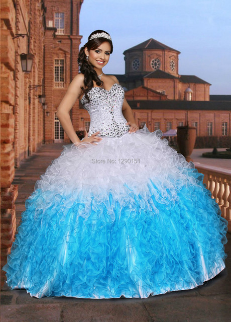7363b99e6e0 New Unique 2014 White Blue Quinceanera Dresses 15 years Ruffled Organza  Sweethetr Sparkling Beaded Pageant Party Ball Gown