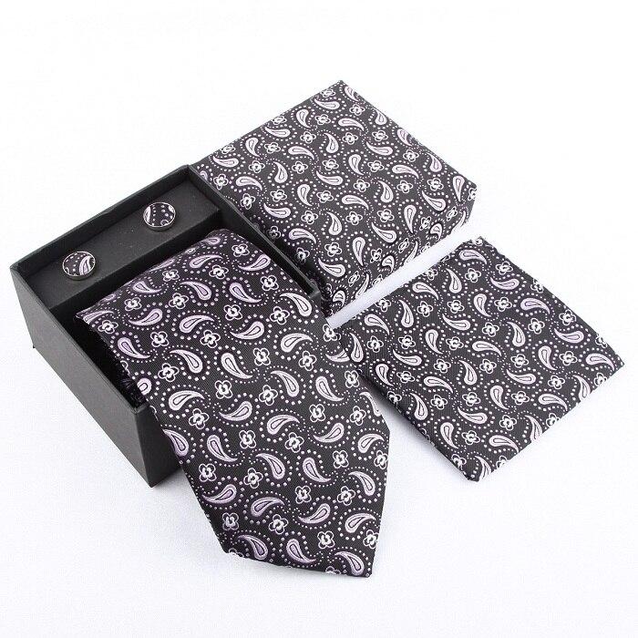 Мужская мода высокого качества захват набор галстуков галстуки запонки шелковые галстуки Запонки карманные носовой платок - Цвет: 29
