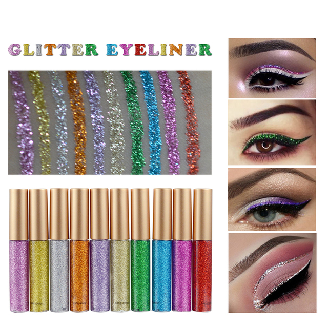Glitter Liquid Eyeliner Pen Diamond Metallic Shine Eye Shadow & Liner Combination Pencil Eyes Makeup Glow Eyeshadow Cream Stick 5