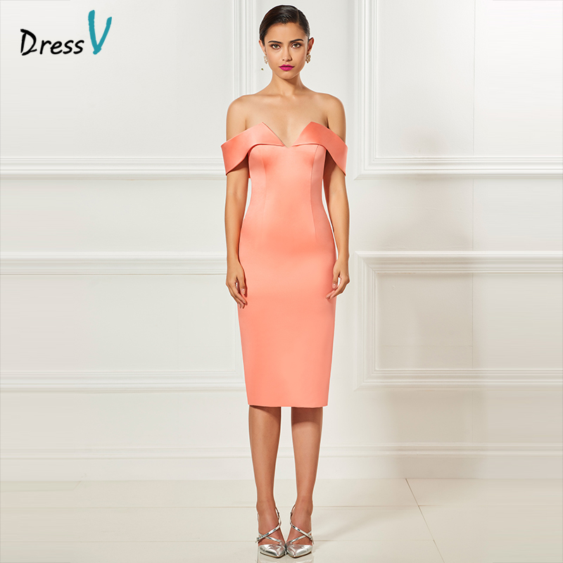 Dressv Orange Off The Shoulder Cocktail Dress Elegant Sheath Tea