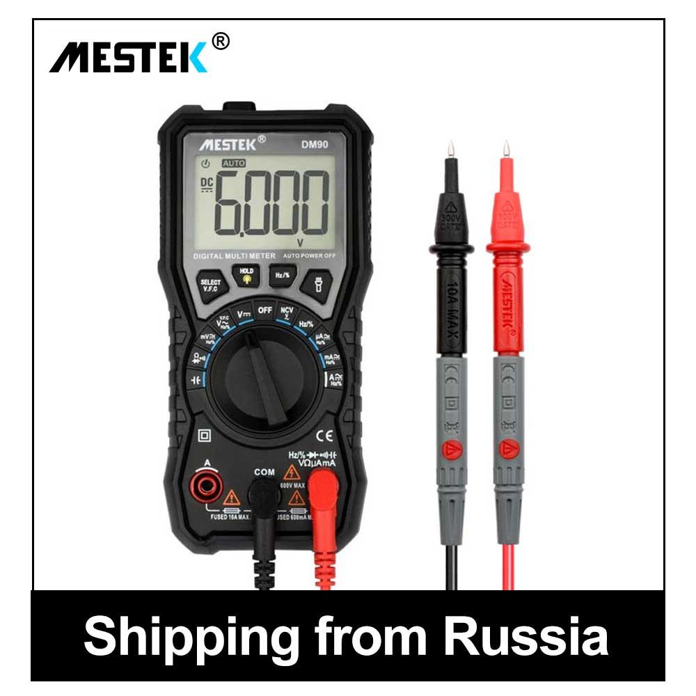 MESTEK Digital Multimeter 6000 Zählt AC/DC Amperemeter Voltmeter Ohm Multi Meter Tester True-RMS Multimeter multimetro DM90