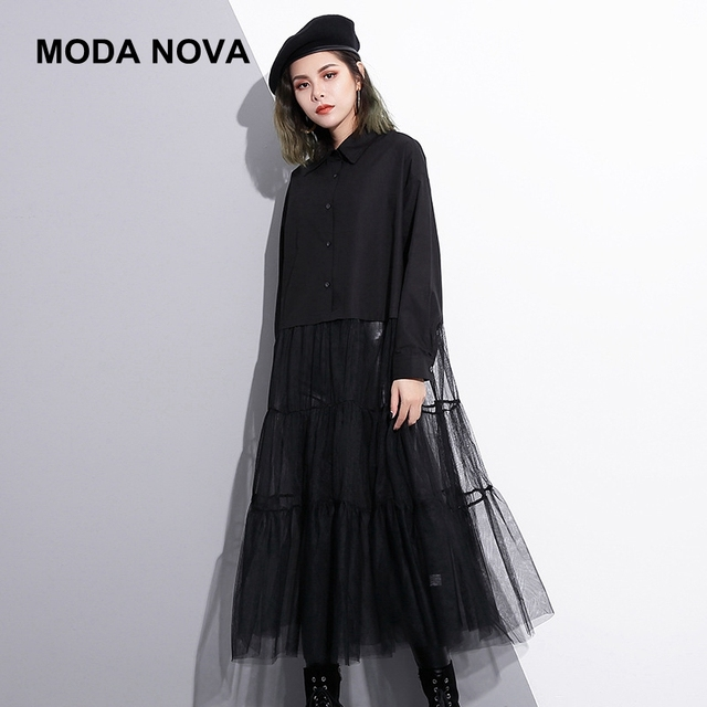MODA NOVA Designer Runway Dress Women Mesh Patchwork Pleated Long Sleeve  Black Shirt Dress 2018 Plus 4ab8791e8e37