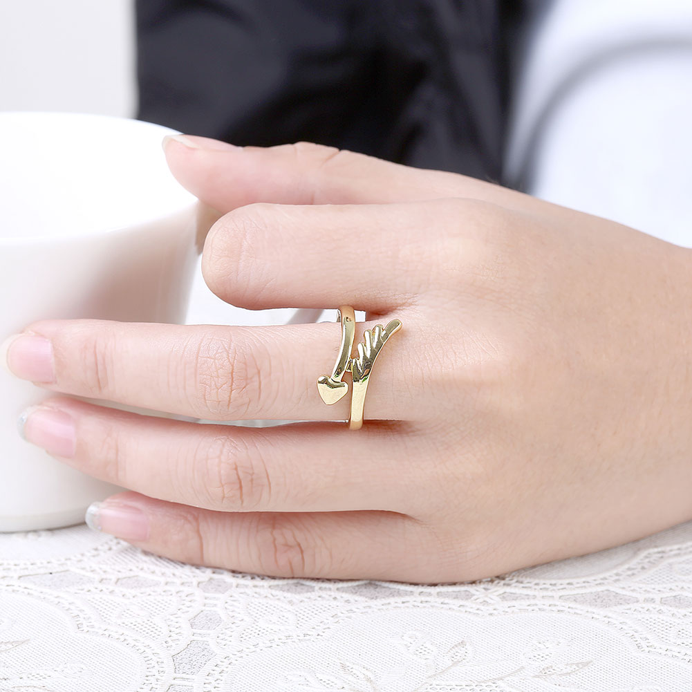 Simple Heart Shape Gold Color Jewelry Ring Wedding Engagement Rings ...