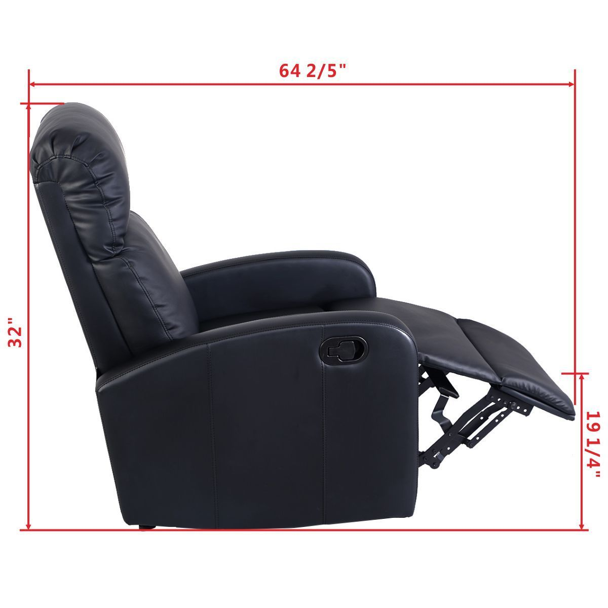 Divani Recliner Manuale Us 159 99 Giantex Manual Recliner Sofa Chair Black Home Living Room Lounger Leather Sofa Seat Theater Leisure Recliner Single Sofa Hw51431 In Living