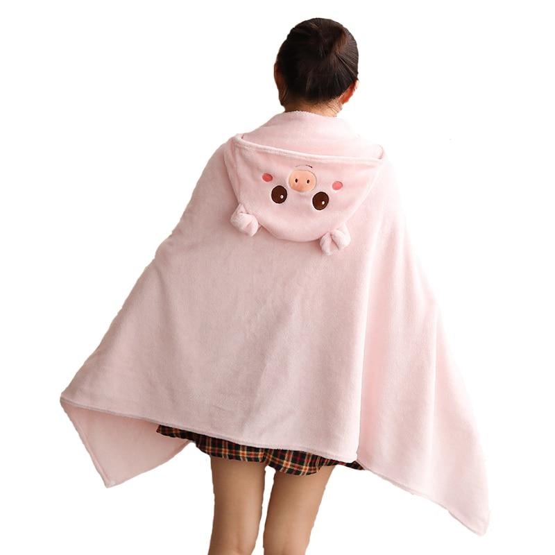 1pcs Cute Cartoon Pig Cloak Anime Surrounding Cloak Girls Plush Shawl Napping Blanket Tanabata Valentine's Day Gift