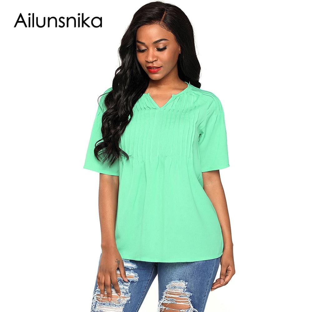 Ailunsnika New 2018 Favourite Arrival Summer Womens Casual Green White Pintucks Detail Raglan Sleeves Fashion Blouse DL250823