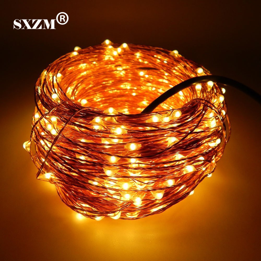 SXZM 10M 20M 30M 50M Vattentät Kopparleddsträng DC12V med DC-kontakt Fairy Light Holiday Decoration Outdoor Street Garden