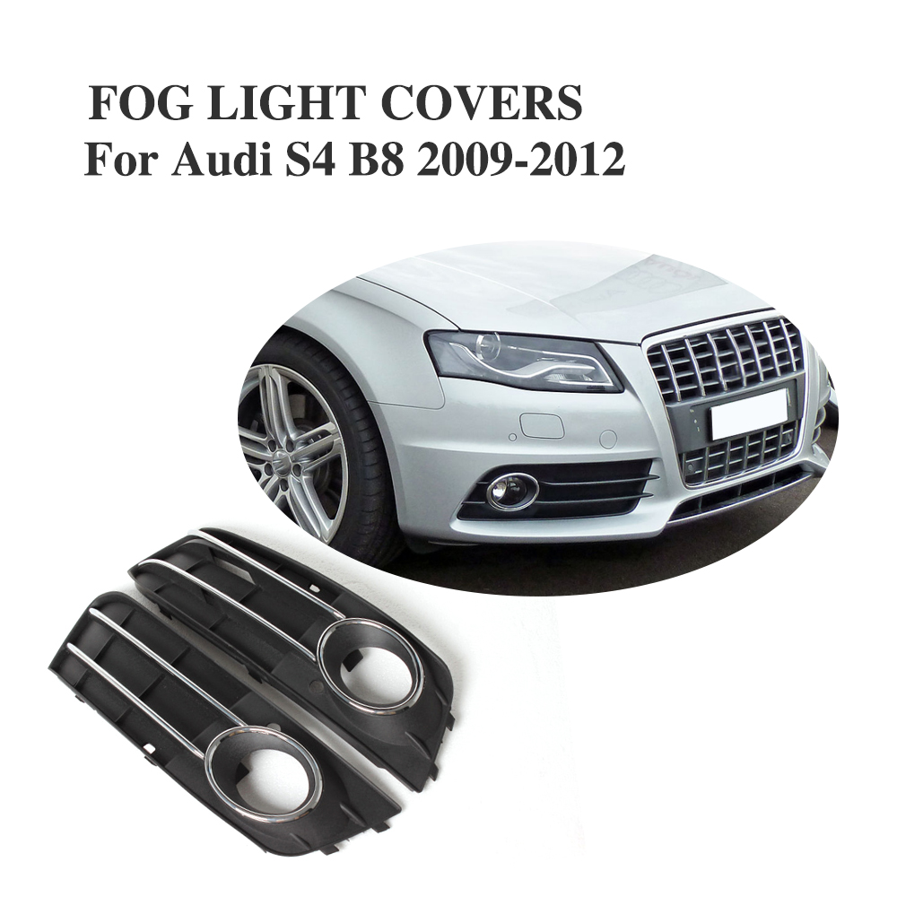 Car Front Fog Light Mesh Covers Grill Fog Lamp Mask Frame For Audi S4 B8 2009-2012 ABS Black 2PCS/Set sparta 300 warrior paragraph wire mesh tactical mask wire mesh mask