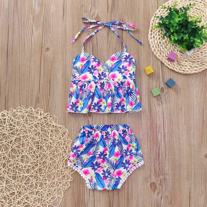 MUQGEW Summer childrens clothing Newborn Baby Girls Flower Print Strap Backless Tops+Lac ...